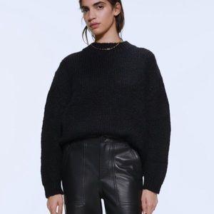 BOGO! Zara Chunky Oversized Black Wool Crew Neck Sweater